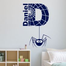 Personalised Children's Spider Themed Name Wall Sticker Decal